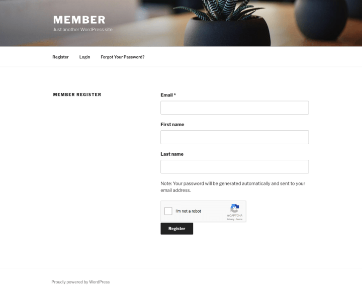 userplace register form